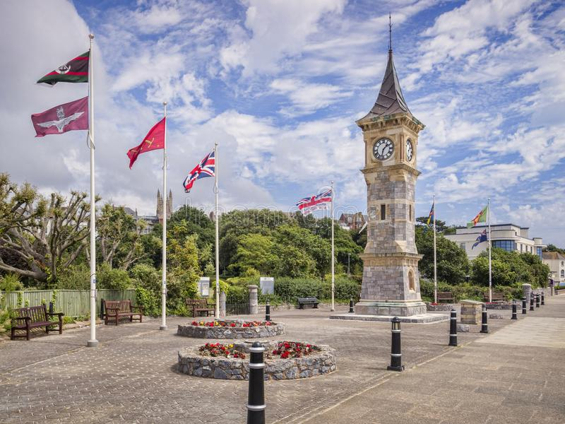 Torre de reloj BRITÁNICA del jubileo de Exmouth Devon imagenes de archivo