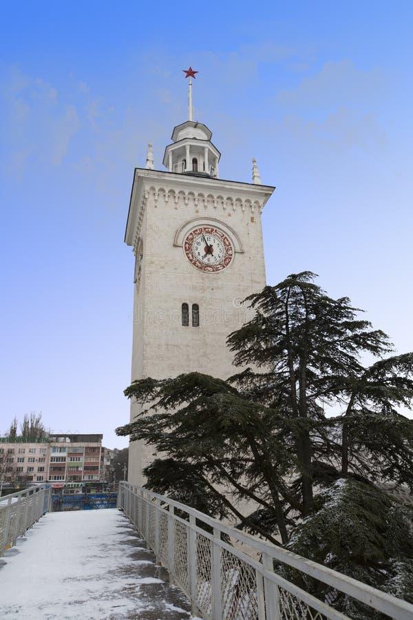 Torre de reloj en Simferopol, Crimea, Ucrania fotografía de archivo