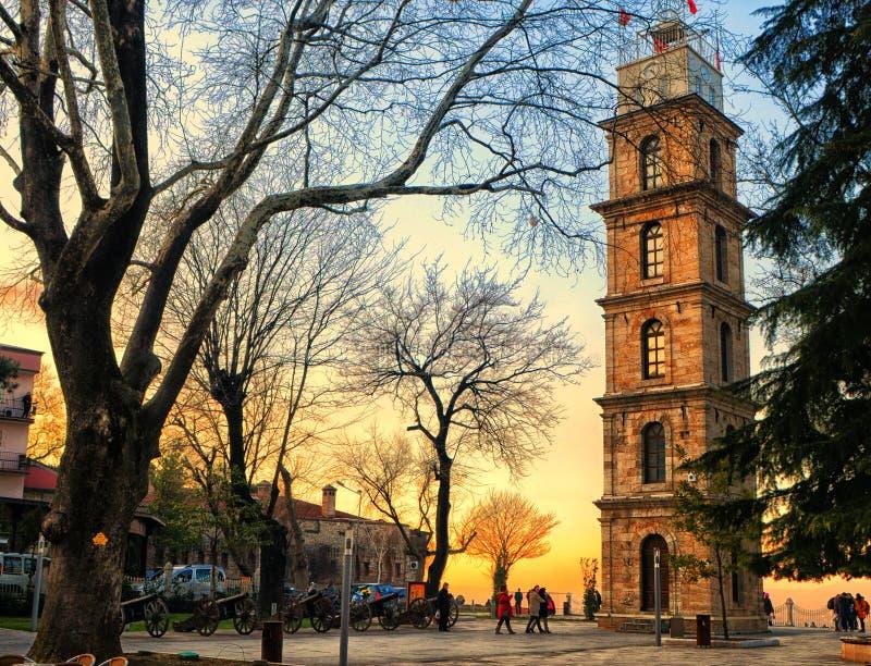 Torre de reloj de Bursa fotografía de archivo libre de regalías