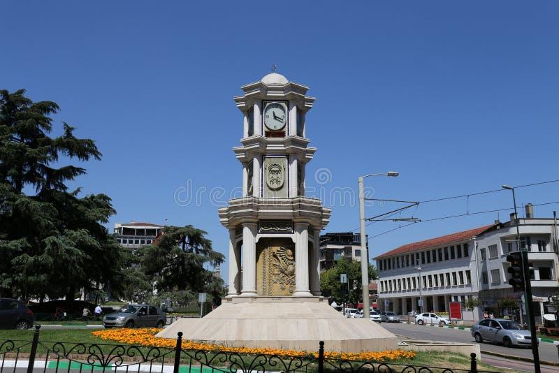Torre de reloj de Bursa Heykel foto de archivo
