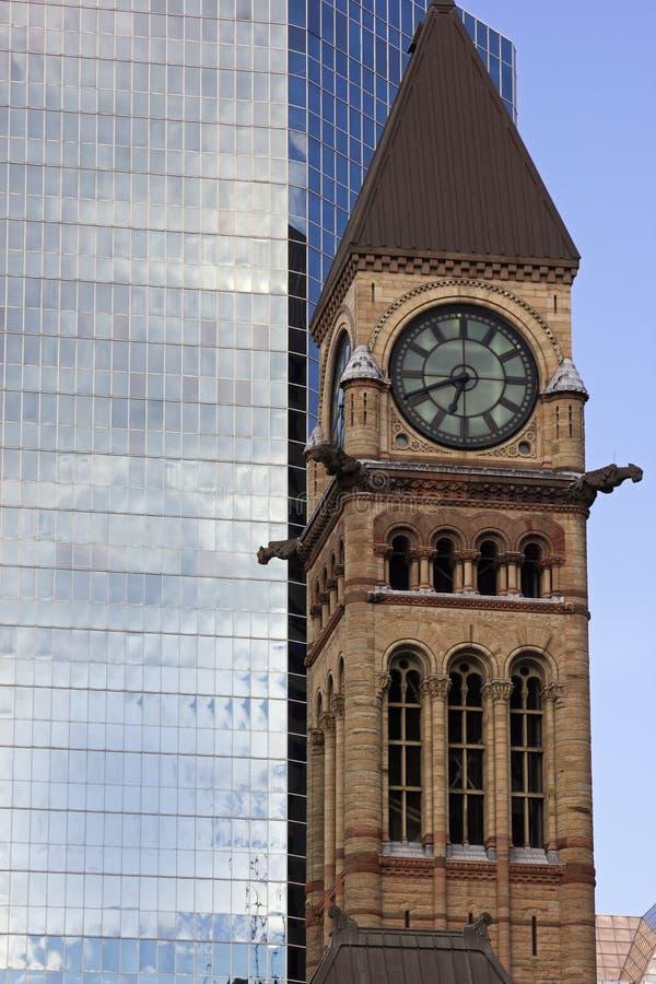 Torre de reloj en ayuntamiento viejo en Toronto fotos de archivo libres de regalías