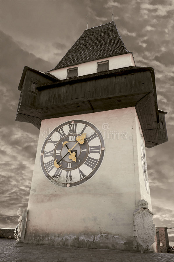 Torre de reloj en Graz imagen de archivo libre de regalías