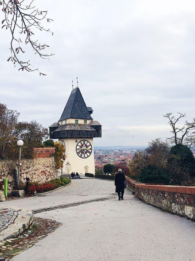 Torre de reloj en Graz fotografía de archivo