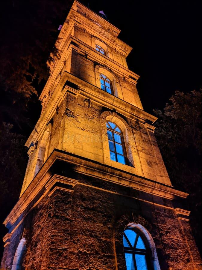 Torre de reloj en Tophane, Bursa en la noche imágenes de archivo libres de regalías