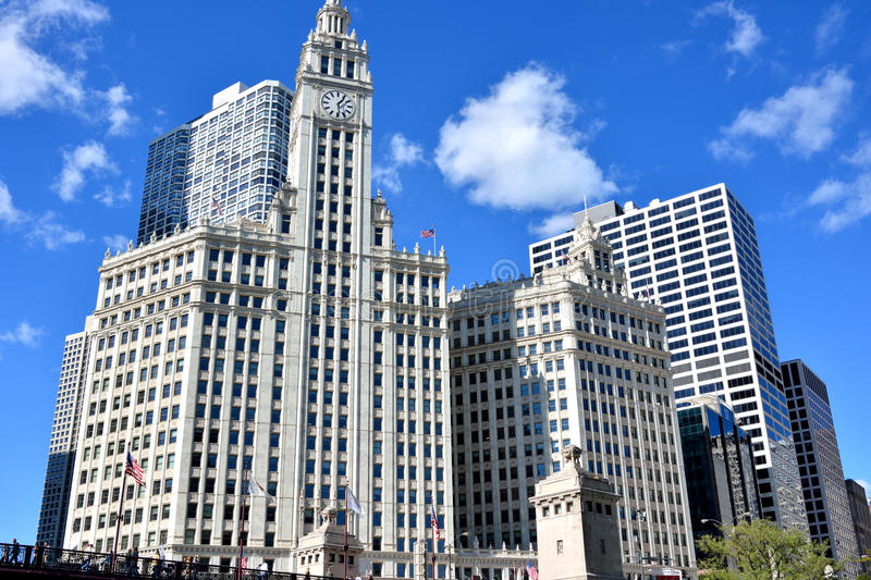 Torre de reloj famosa de Wrigley, Chicago fotos de archivo libres de regalías