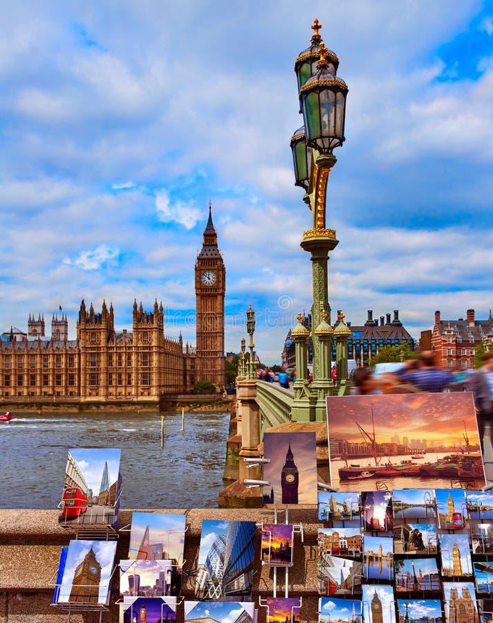 Torre de reloj grande de las postales de Ben London en Reino Unido fotografía de archivo libre de regalías