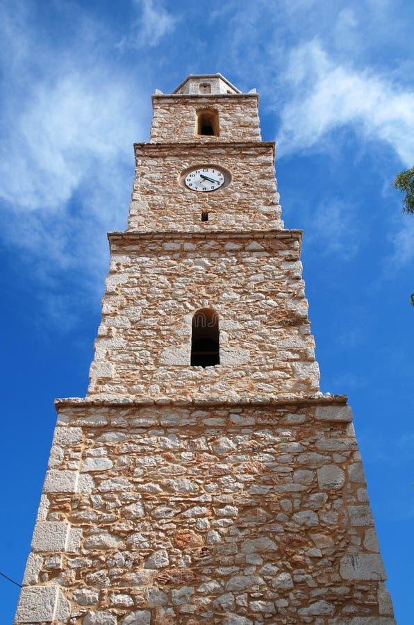 Torre de reloj, isla de Halki imagenes de archivo