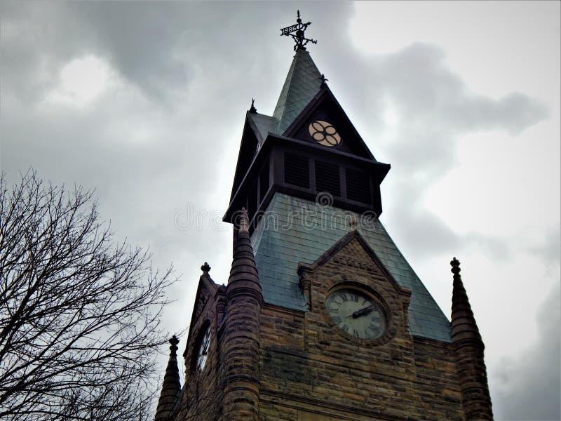 Torre de reloj de Knox County Courthouse Galesburg Illinois fotografía de archivo