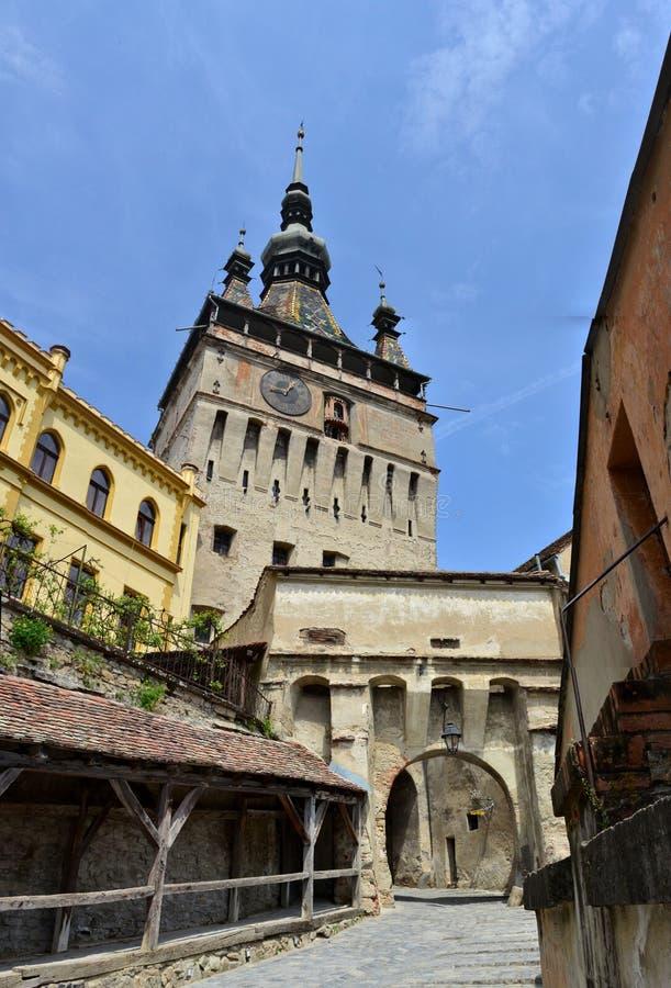 Torre de reloj vieja de Sighisoara, Rumania foto de archivo libre de regalías