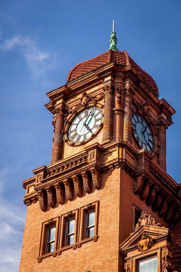Torre de reloj vieja en Richmond, Virginia fotografía de archivo