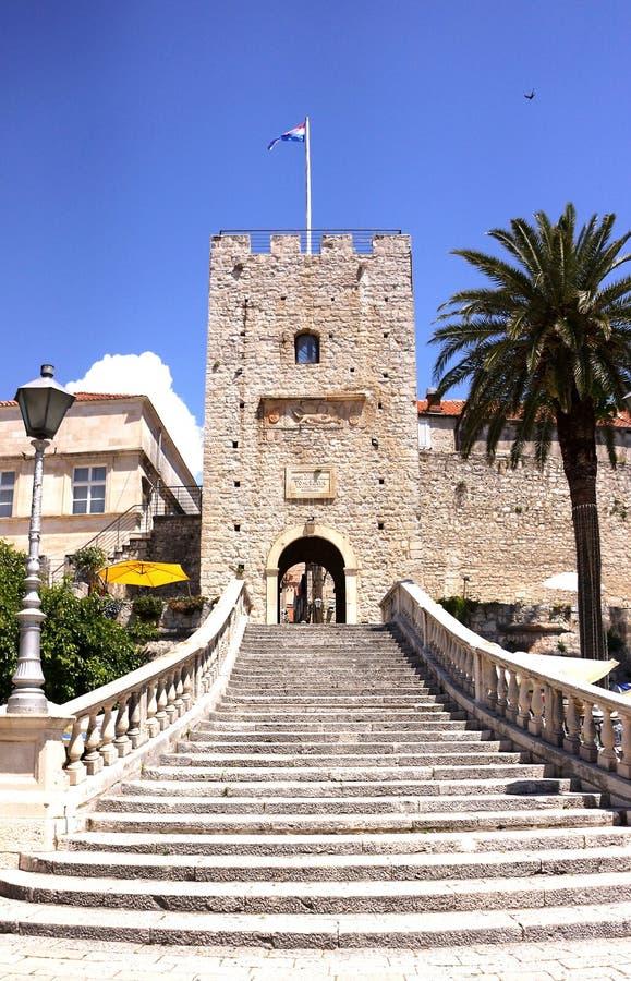 Torre de Revelin en Korcula fotografía de archivo libre de regalías