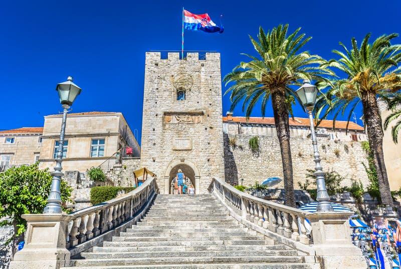 Torre de Revelin en la ciudad Korcula, Croacia imagen de archivo libre de regalías