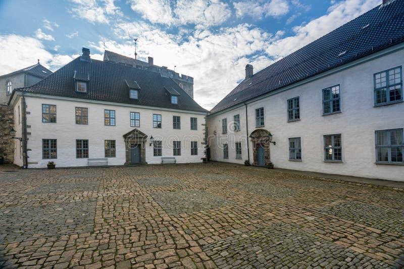 Torre de Rosenkrantz dentro da fortaleza de Bergenhus em Bergen fotografia de stock