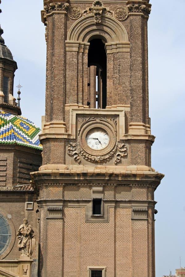Torre de sino da basílica del Pilar imagens de stock