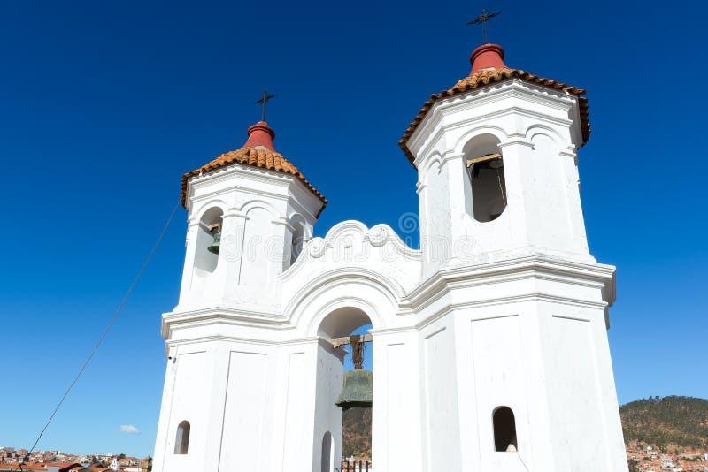 Torre de sino de San Felipe de Neri Monastery, sucre, Bolívia fotos de stock royalty free