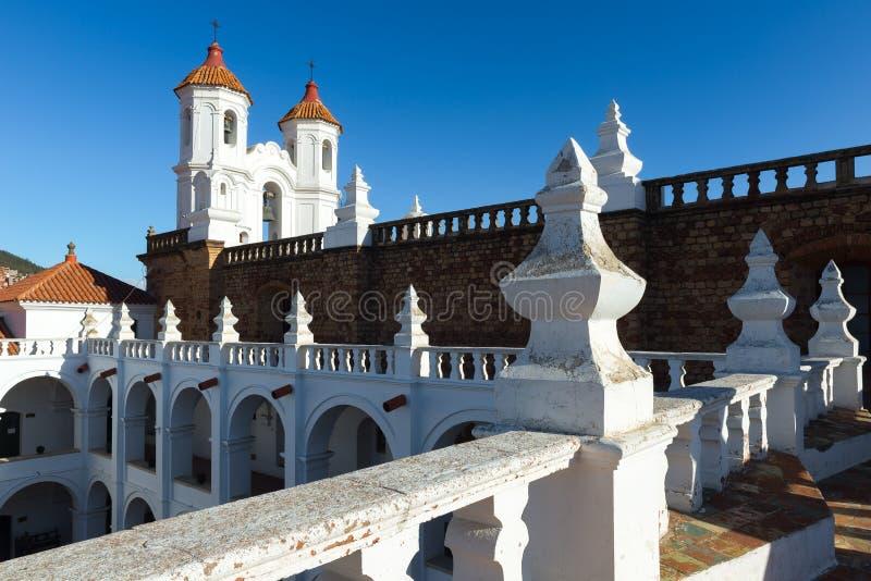 Torre de sino de San Felipe de Neri Monastery, sucre, Bolívia imagens de stock