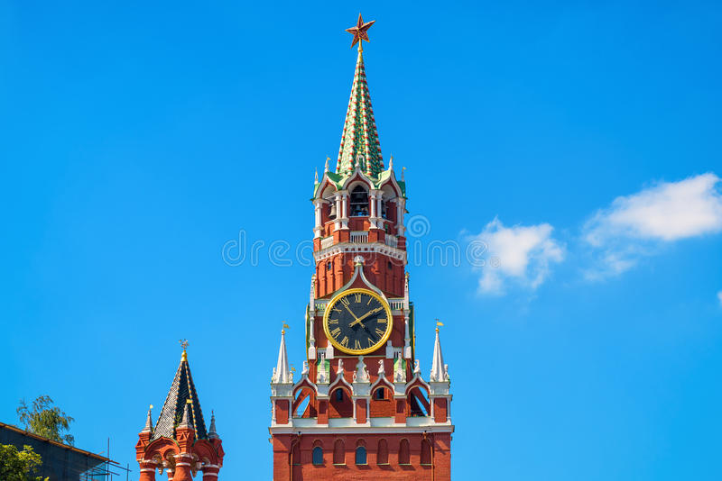 Torre de Spasskaya de Moscovo Kremlin imagens de stock