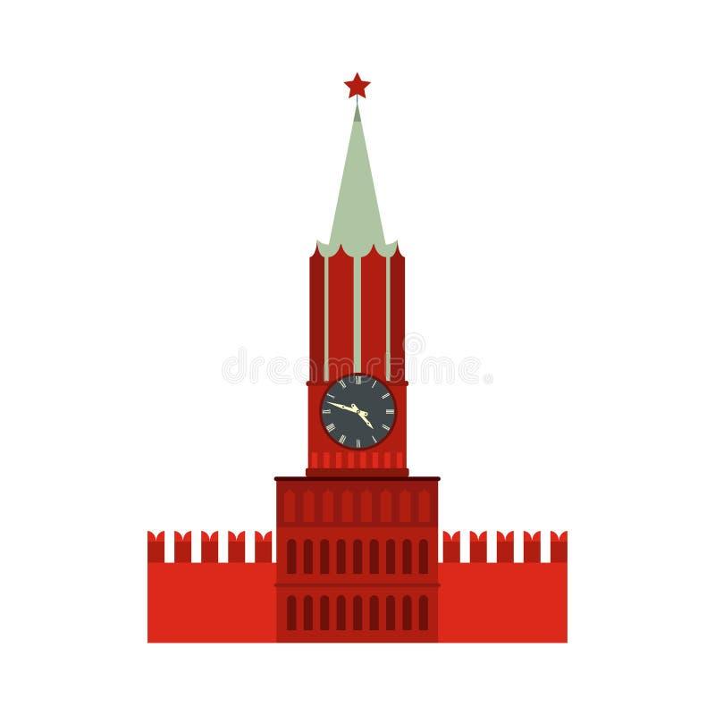 Torre de Spasskaya del icono de Moscú el Kremlin, estilo plano libre illustration