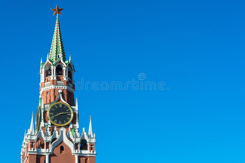Torre de Spasskaya do Kremlin de Moscovo imagem de stock royalty free