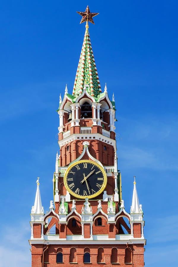 Torre de Spasskaya de la Moscú el Kremlin en Moscú imagen de archivo
