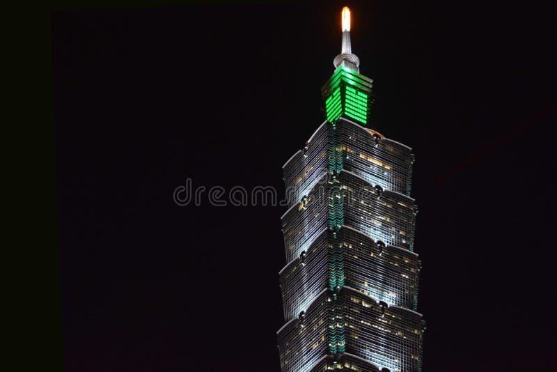 Torre de Taiwán 101 en la noche fotos de archivo libres de regalías