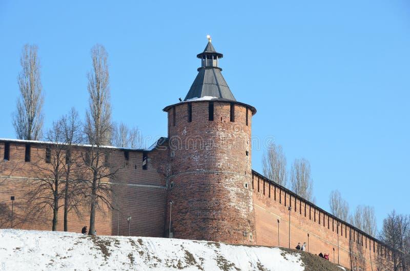 Torre de Taynitskaya de Nizhny Novgorod el Kremlin fotos de archivo libres de regalías