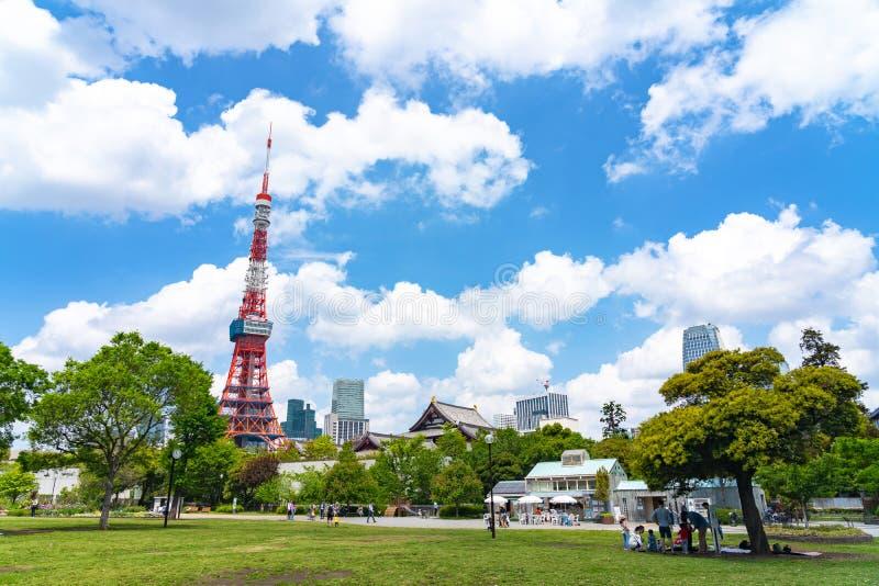 Torre de Tokio del c?sped verde en el parque de Shiba en Tokio, Jap?n fotografía de archivo libre de regalías