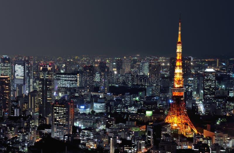 Torre de Tokyo na noite fotografia de stock