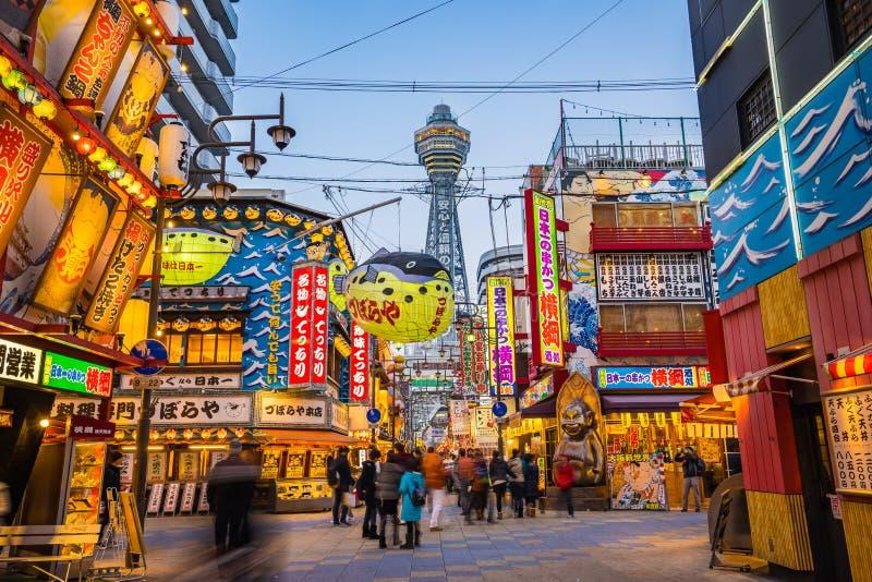 Torre de Tsutenkaku em Osaka, Japão foto de stock