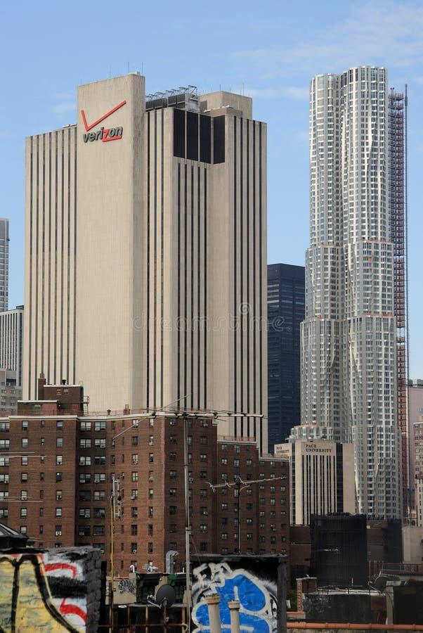 Torre de Verizon y de Beekman imagen de archivo libre de regalías
