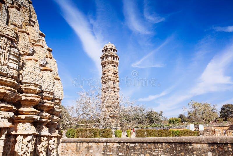 Torre de Victory Vijay Stambha no forte de Chittor Chittorgarh fotos de stock