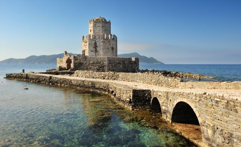 Torre de vigia do castelo, Methoni, Greece fotografia de stock