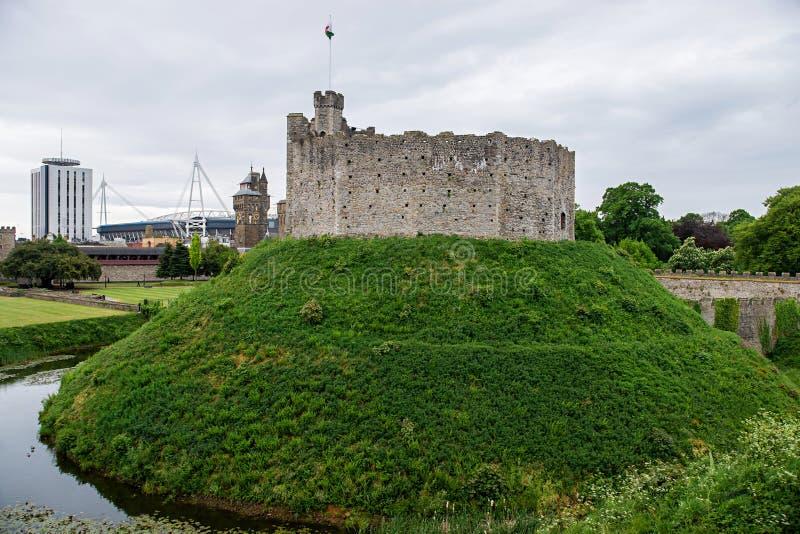 Torre de vigia no castelo de Cardiff em Cardiff em Gales fotografia de stock