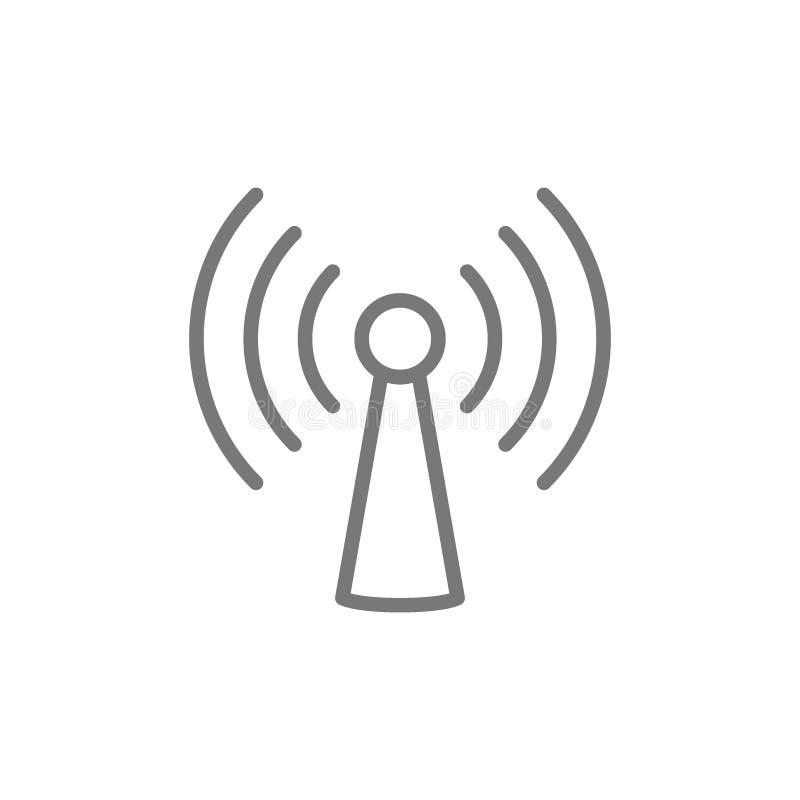 Torre de Wifi, l?nea icono de la antena ilustración del vector