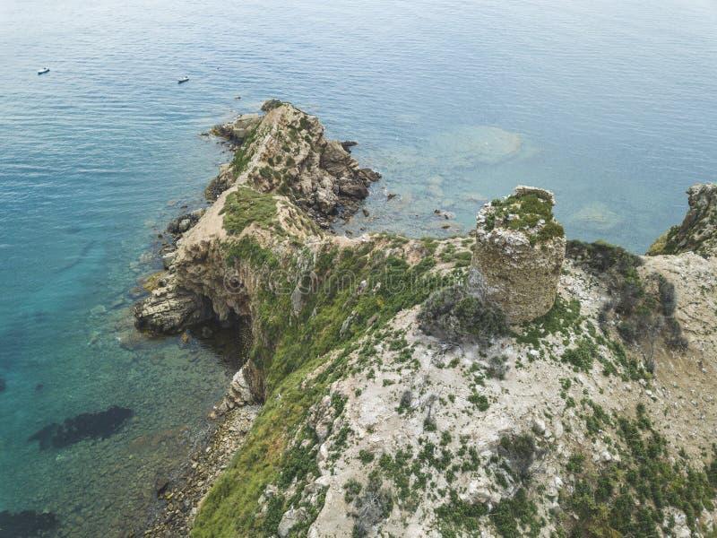 Torre Degli Appiani Insel in Punta-Ala Italien-Landschaft lizenzfreies stockbild