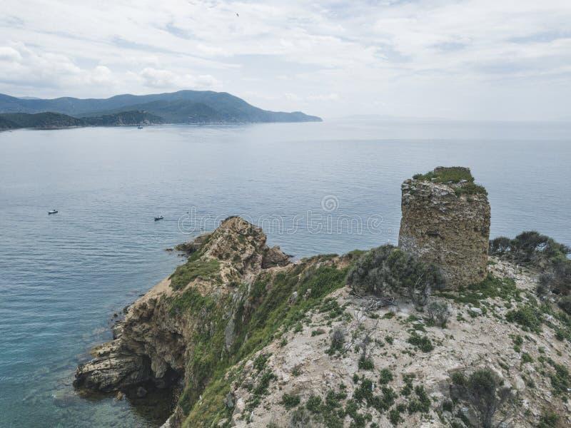 Torre Degli Appiani. Island in Punta Ala. Italy landscape. Torre Degli Appiani on island in Punta Ala. Italy aerial landscape stock photo