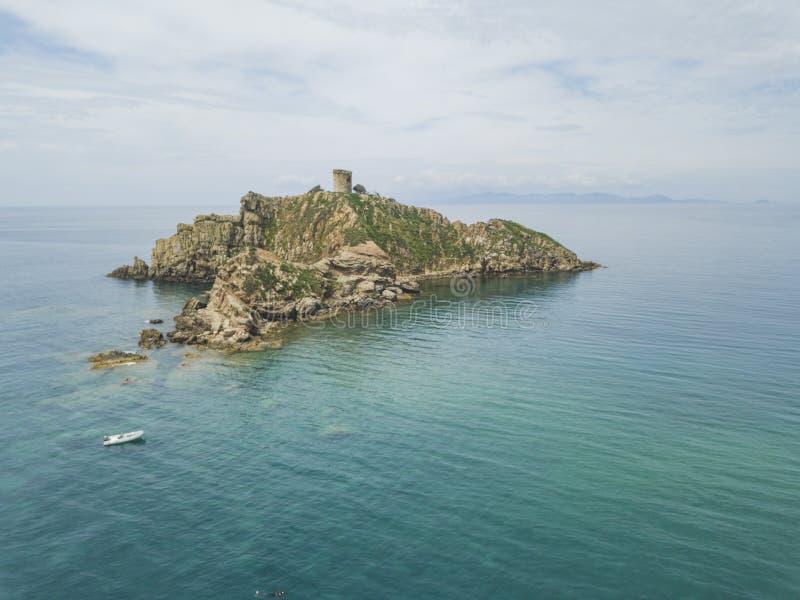 Torre Degli Appiani. Island in Punta Ala. Italy landscape. Torre Degli Appiani on island in Punta Ala. Italy aerial landscape royalty free stock photo