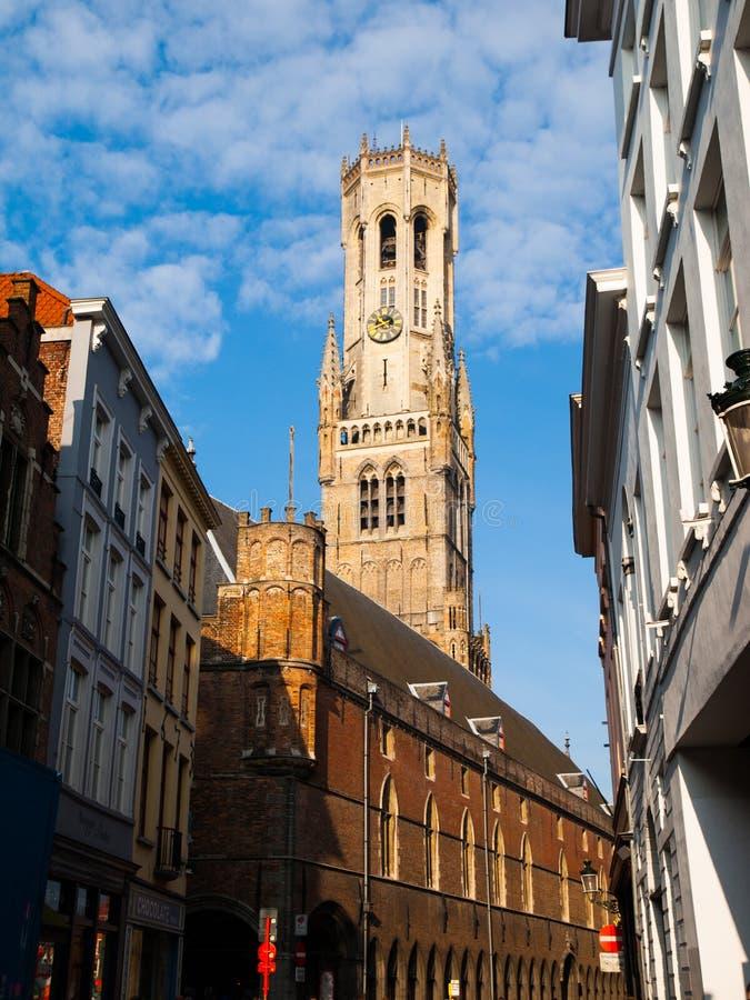 Torre del campanario de Brujas fotografía de archivo
