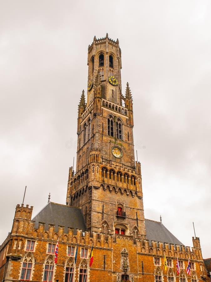 Torre del campanario de Brujas imágenes de archivo libres de regalías