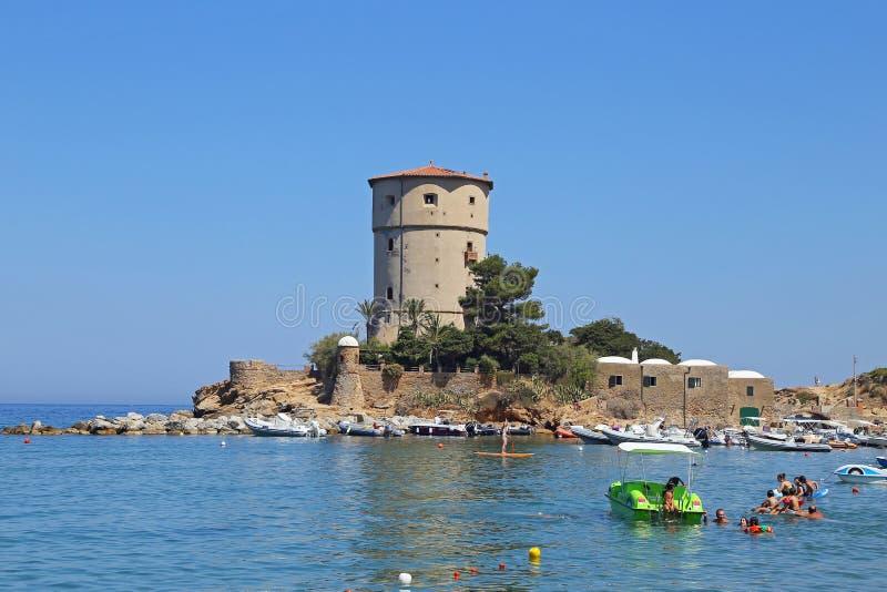 Torre Del Campese, Giglio wyspa, Tuscany, Włochy zdjęcie stock
