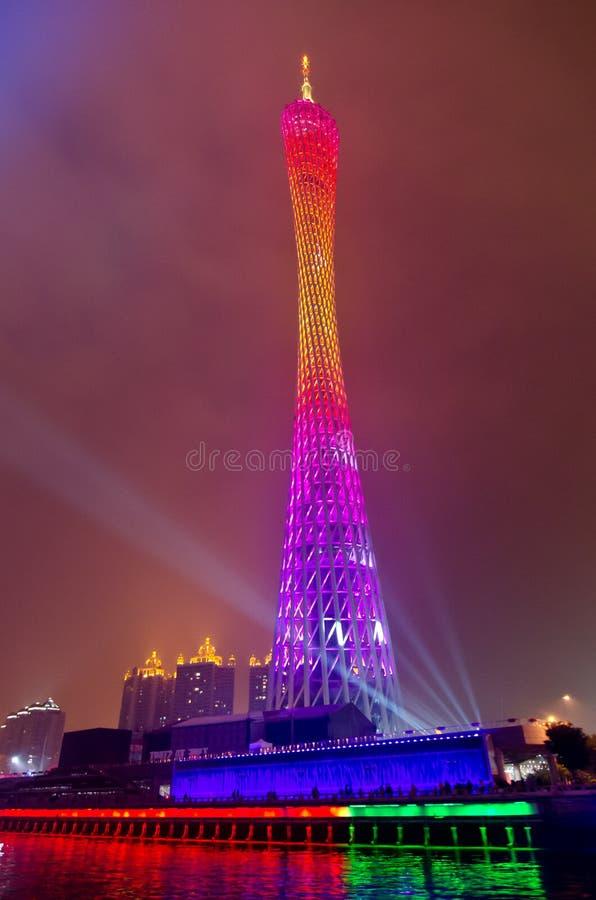 Torre del cantón en la noche imagenes de archivo