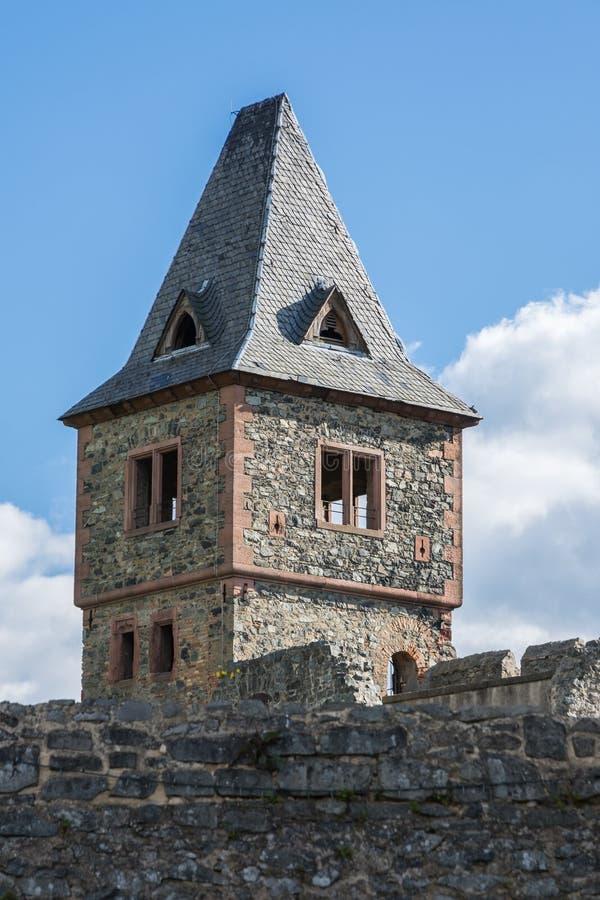Torre del castello Frankenstein in Odenwald, Hesse, Germania immagine stock