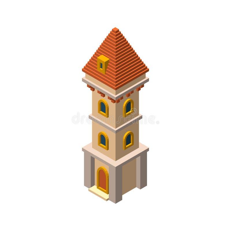 Torre del castillo Aislado en el fondo blanco illustrati del vector 3d stock de ilustración