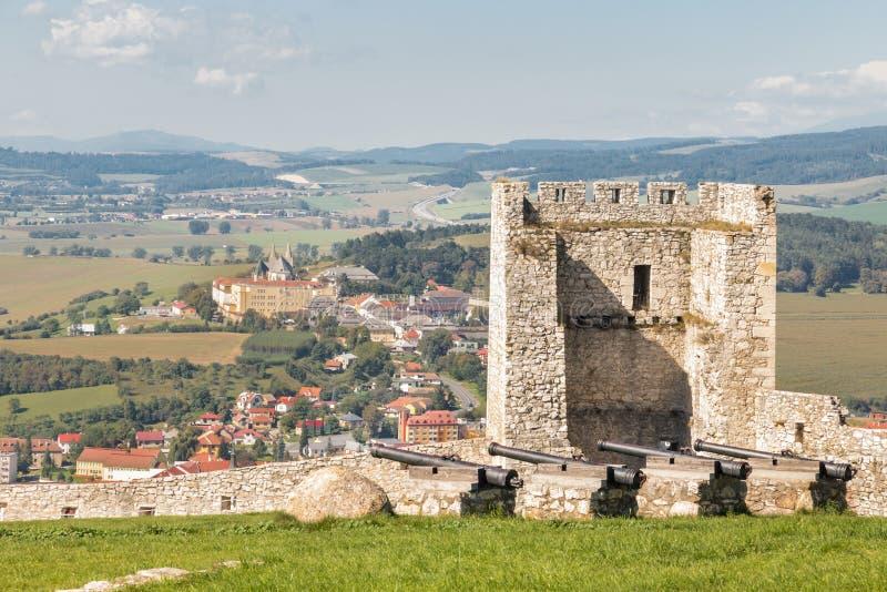Torre del Castillo de Spis y muro defensivo con Spisske Podhradie en segundo plano fotografía de archivo libre de regalías