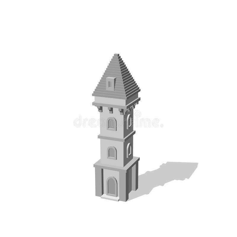 Torre del castillo En el fondo blanco illustrati del vector 3d stock de ilustración