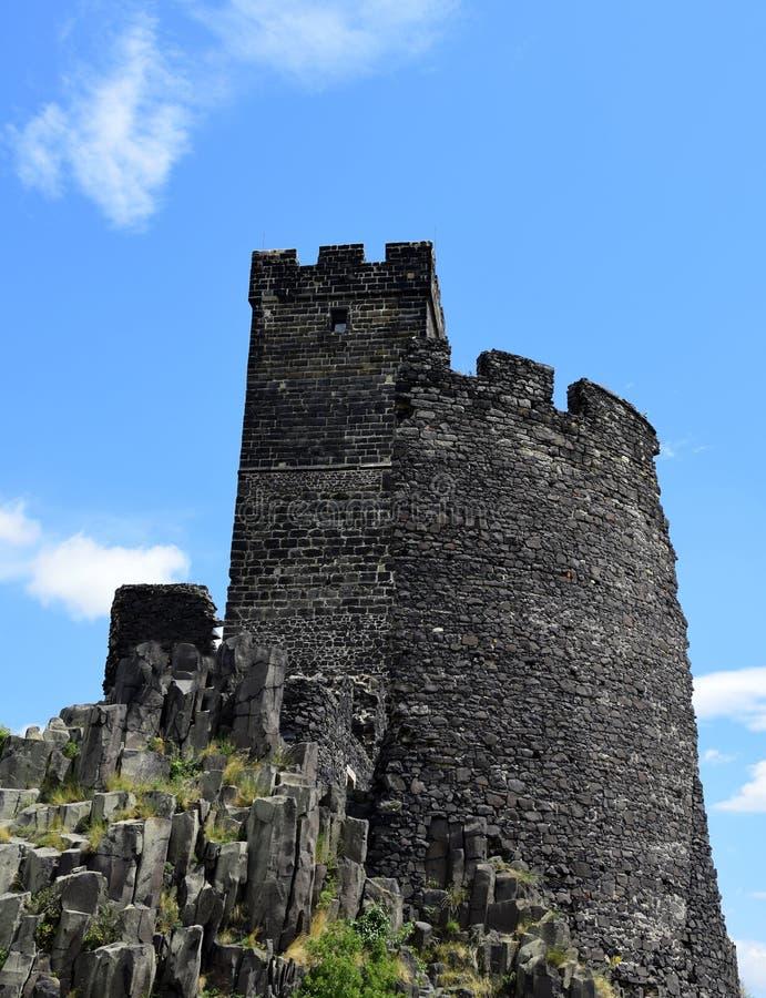 Torre del castillo - Hazmburk fotografía de archivo