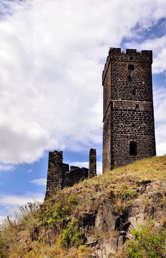 Torre del castillo - Hazmburk foto de archivo libre de regalías
