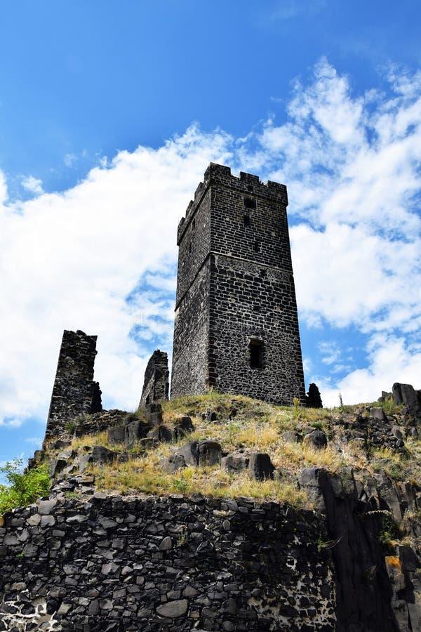 Torre del castillo - Hazmburk imagen de archivo