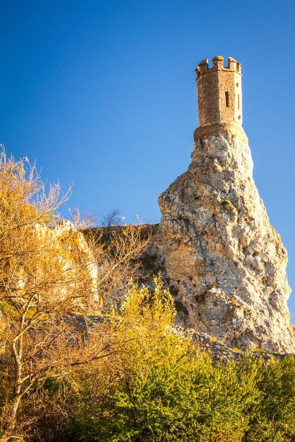 Torre del castillo medieval Devin, Eslovaquia foto de archivo libre de regalías
