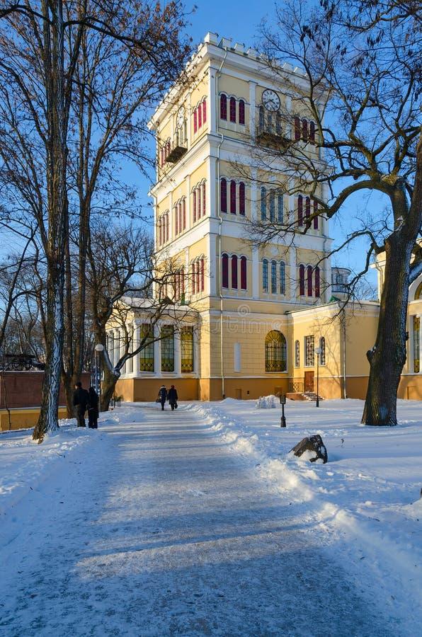 Torre del conjunto del palacio y del parque, paisaje del invierno, Gomel, Bela imagen de archivo libre de regalías